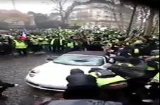 چپ کردن یک پورشه به دست معترضان فرانسوی
