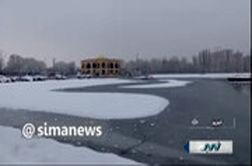 دریاچه الگلی تبریز یخ زد!