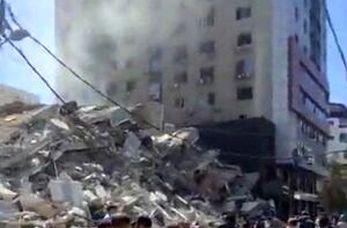 لحظه تخریب برج الجلاء در غزه