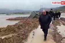 پل تخریب شده قزانچی و بازدید میدانی مهندس بازوند استاندار کرمانشاه