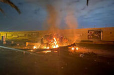 لحظه حمله به خودروی حامل قاسم سلیمانی و ابومهدی المهندس