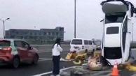 تصادف عجیب راننده زن چینی همه را شوکه کرد