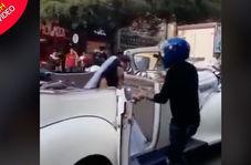 اقدام عجیب مرد جوان هنگام دیدن نامزد سابقش در ماشین عروس!