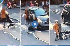 لحظه تصادف خودرو با کالسکه نوزاد!