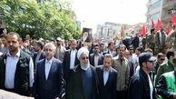 حضور رئیس جمهور در راهپیمایی روز قدس