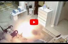 فرار دو کودک  از حادثه انفجار اسکوتر برقی!
