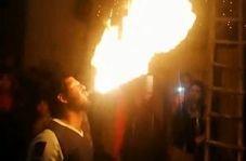 آتش گرفتن وحشتناک یک مرد حین اجرای نمایش در مراسم عروسی