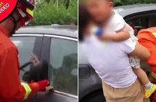 اقدام باورنکردنی مادر پس از گرفتار شدن فرزندش در خودرو!