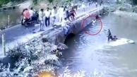 اقدام فداکارانه پدر جوان پس از سقوط خودرو به داخل رودخانه