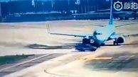 ترمز خلبان هواپیما برای جلوگیری از تصادف با خودرو در فرودگاه!
