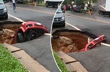 بلعیدن شدن عجیب خودروسواری در زمین!+ فیلم