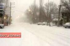 بارش شدید برف در جاده چالوس و هشدار پلیس راه