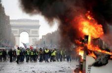 رفتار خشن نیروهای پلیس فرانسه با یک معترض در پاریس