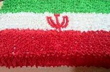 پخت کیک ۱۲۰ کیلویی به رنگ پرچم ایران
